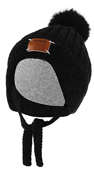 53704094250 Gemvie Boys Girls Warm Ear Flaps Beanie Hat Thick Chenille Hand Knitted Pom  Pom Bobble Hat Chunky Earflaps Winter Hat Black  Amazon.co.uk  Clothing