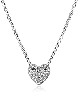 Amazon fossil glitz glass pendant necklace rose gold tone fossil heart pendant necklace mozeypictures Gallery