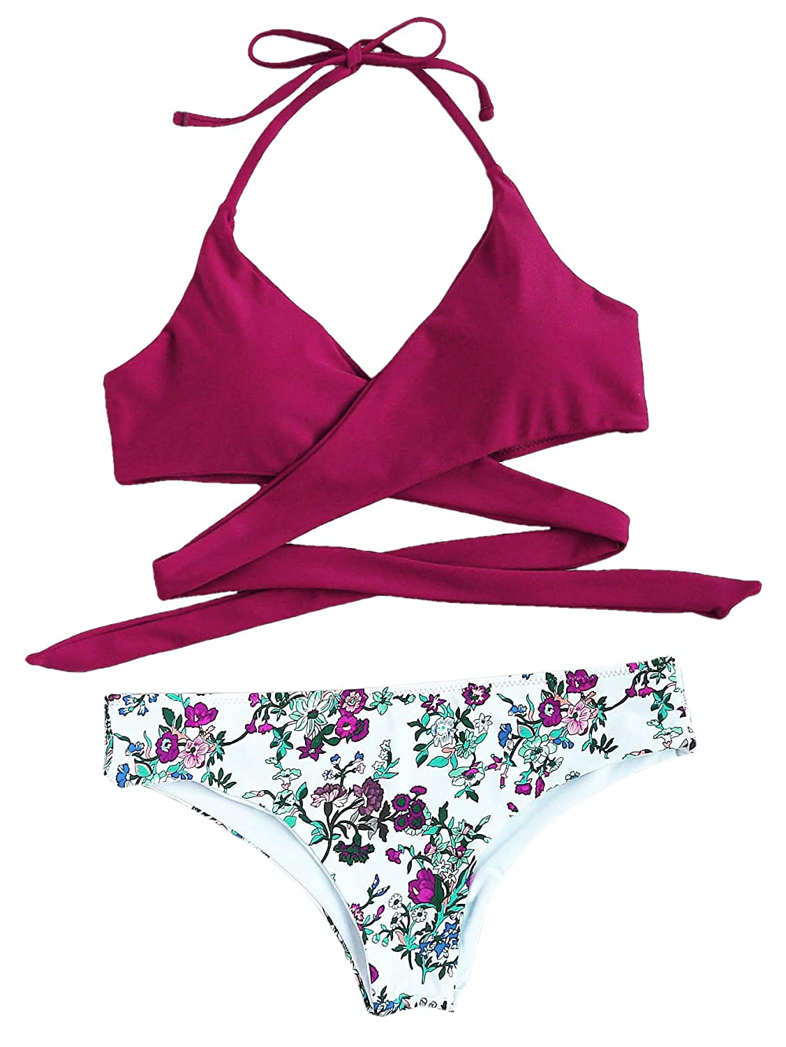 SOLY HUX Women's Floral Halter Wrap Knotted Back Bikini Set Burgundy L