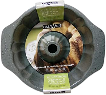 casaWare Ceramic Silver Granite Bundt Pan