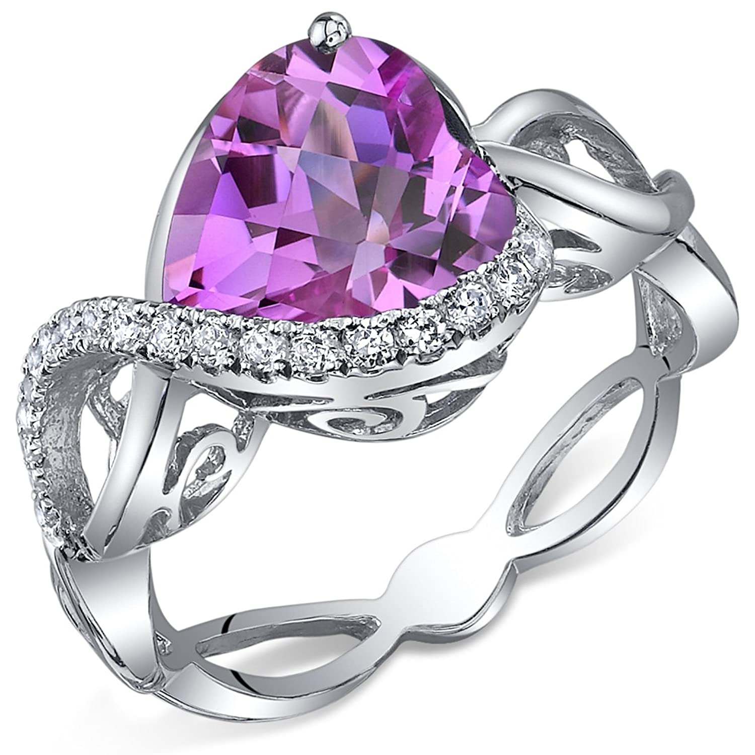 4.00 Carats Created Pink Sapphire Ring Sterling Silver Heart Shape Swirl Design Sizes 5 to 9