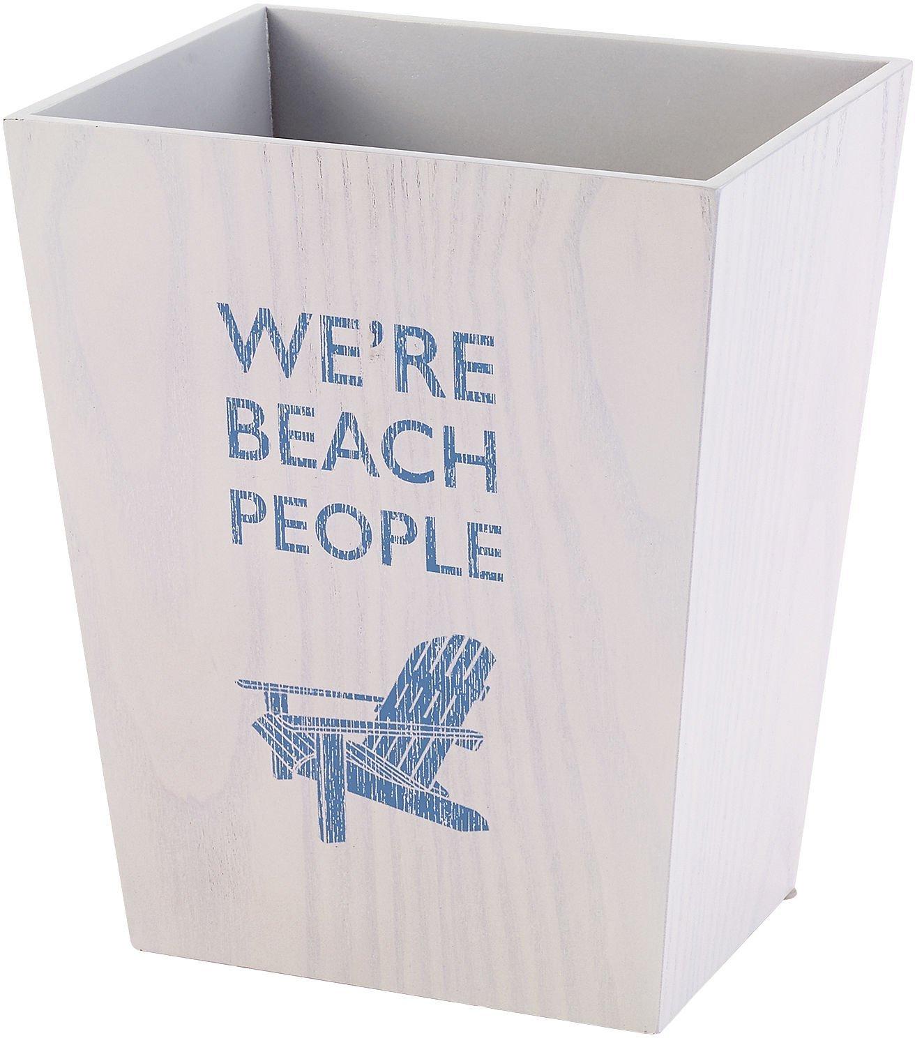 Avanti Linens 13676FMUL Beach Words Waste Basket, Medium, Multicolor