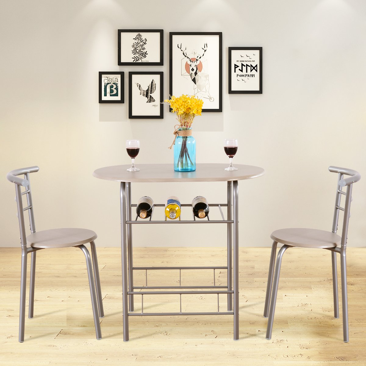 Giantex 3 Piece Dining Set Table 2 Chairs Bistro Pub Home Kitchen Breakfast Furniture by Giantex