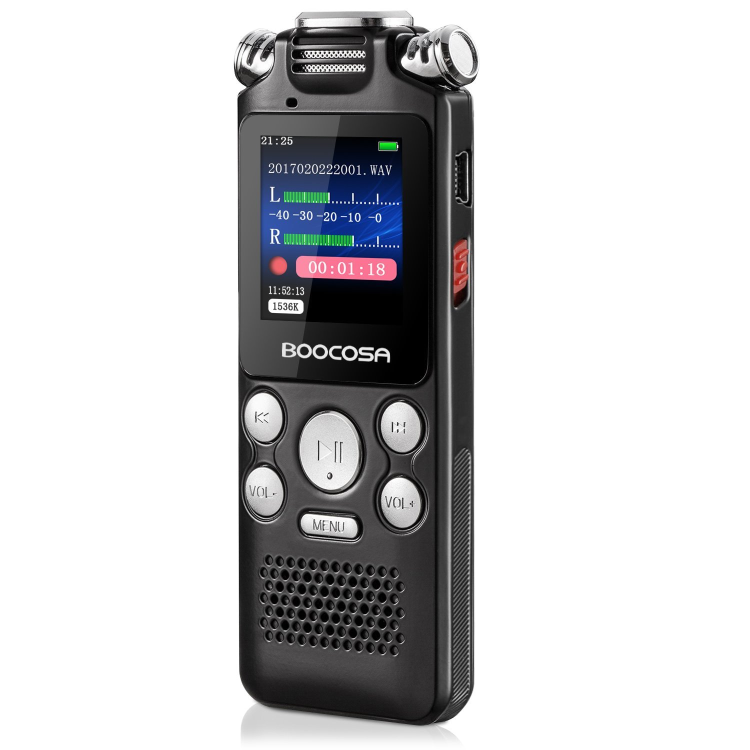 Voice Recorder - 8GB Audio Sound Recorder - Portable Rechargeable Dictaphone Recorder with Playback Noise Cancellation, A-B Repeat, Sleep Timer, MP3 Player (black7)