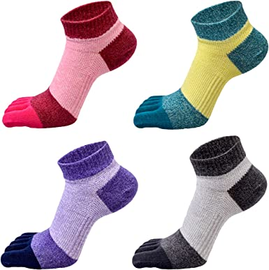 Jingzheng - Calcetines Cortos Verano para Mujeres de Algodón Respirable para Yoga Deportivo de 5 Dedos Separados - 4 pares: Amazon.es: Ropa y accesorios