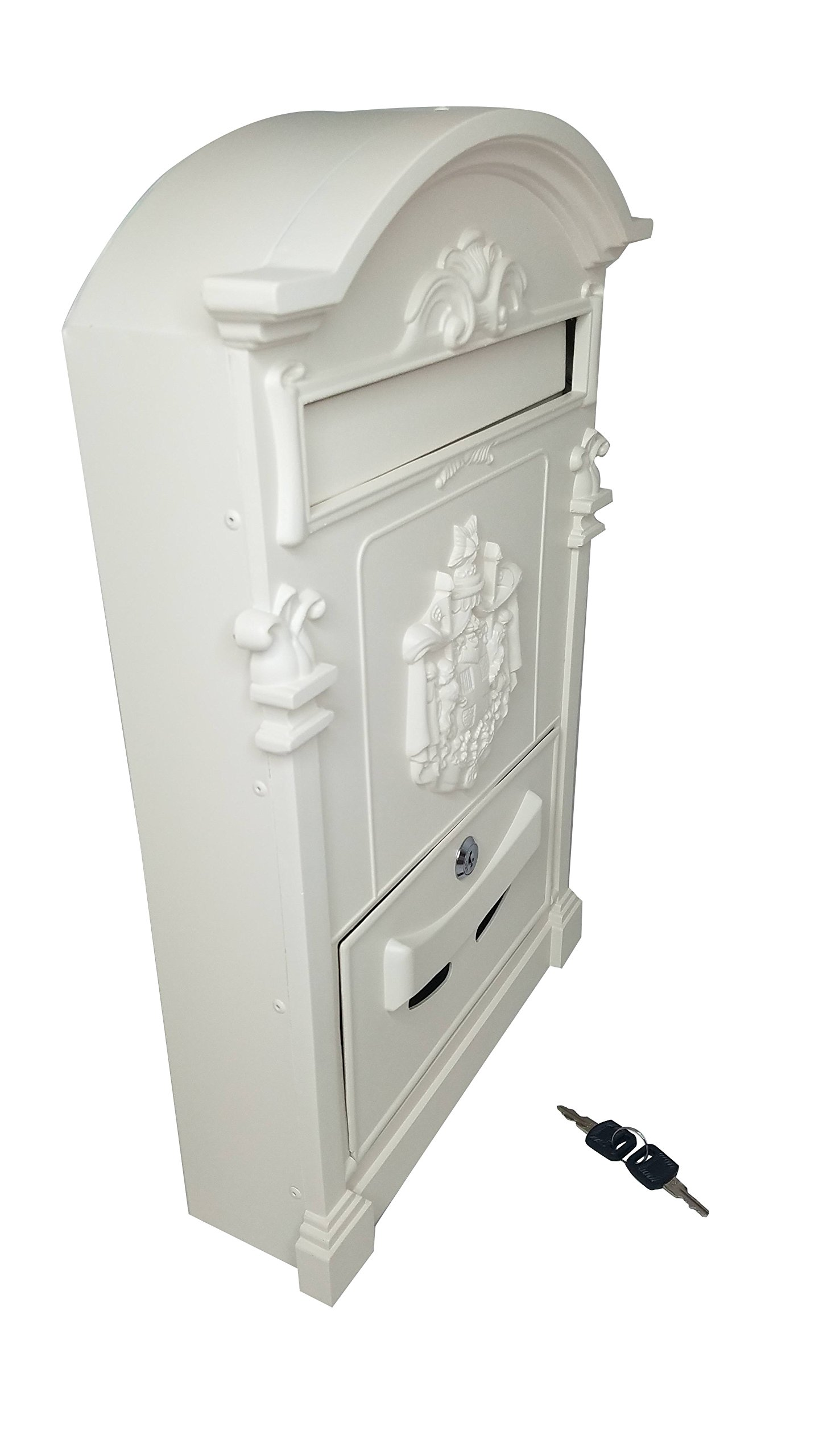 Locking Wall Mounted Mailbox - Vintage White with Crest Design - Aluminum Chic Mail Box with Keys - Secure Residential Letter Box (White) by Royal Brands