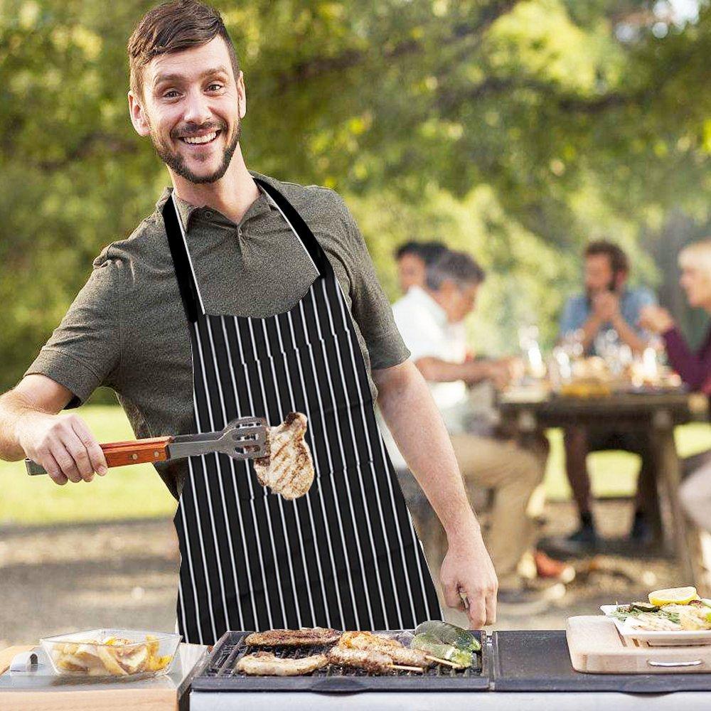 Tablier de Cuisine, Tablier de Cuisine avec 2 Poches, Tablier Noir et Blanc Unisexe pour Les Cuisiniers Restaurant Bistro BBQ, Longueur: Environ 78cm / 30.7 Pouces; Largeur: Environ 61 cm / 24,0 Pouce