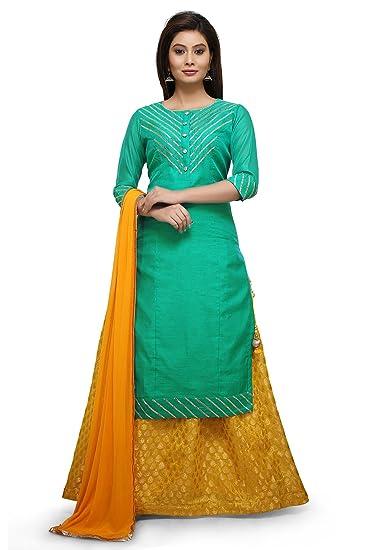 8cd66c07d Utsav Fashion Woven Art Silk Lehenga in Teal Green and Yellow: Amazon.in:  Clothing & Accessories