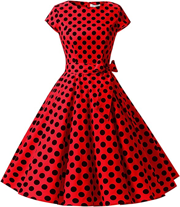 TALLA S. Dressystar Vintage 1950s Polka Dot and Solid Color Prom Dresses Cap-Sleeve Red Black Dot B
