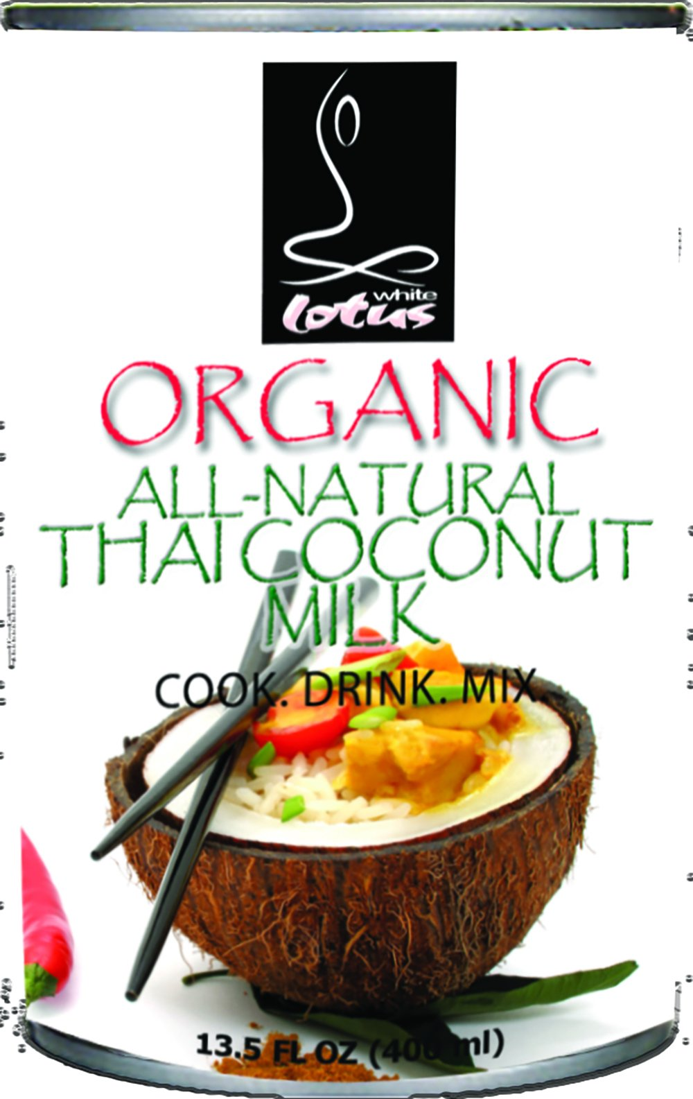 White Lotus Organic All-Natural Thai Coconut Milk, 13.5 Fluid Ounce (Pack of 24)