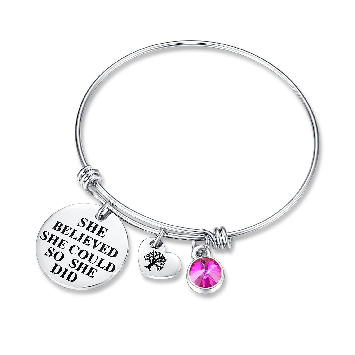 'She Believed She Could So She Did' Birthday Gifts Bracelet with Birthstone and Heart Tree of Life Hannay she-believed-b2