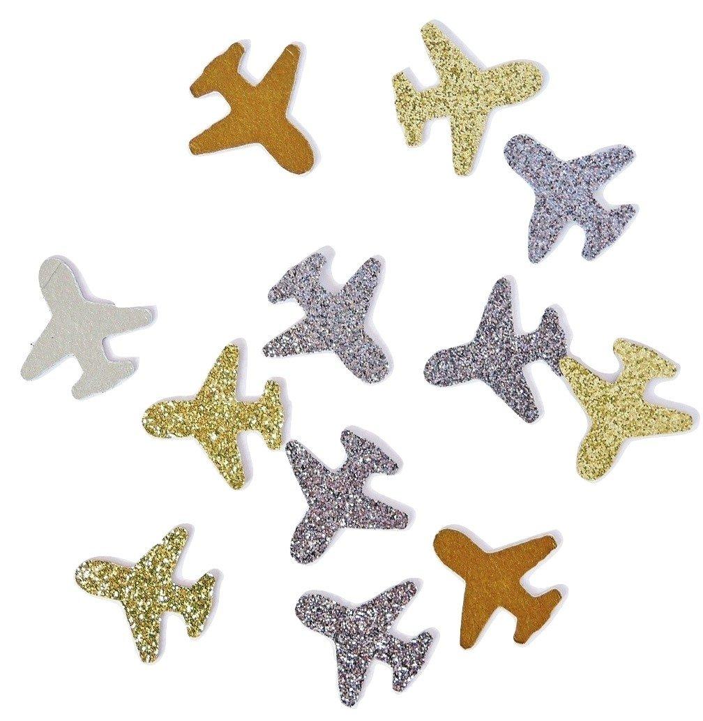 Konfetti Flugzeug Gold Silber glitter (handgemacht Konfetti)