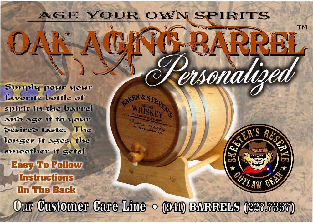 Natural Oak, Black Hoops, 5 Liter Personalized American Oak Bourbon Aging Barrel MADE BY American Oak Barrel - - Custom Engraved Barrel From Skeeters Reserve Outlaw Gear 102