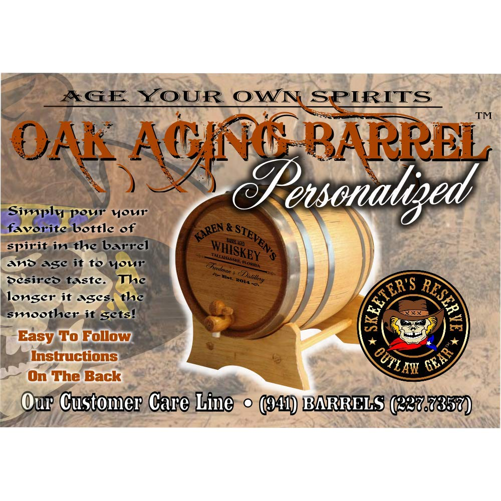 Personalized American Oak Bourbon Aging Barrel (102) - Custom Engraved Barrel From Skeeter's Reserve Outlaw Gear - MADE BY American Oak Barrel - (Natural Oak, Black Hoops, 5 Liter) by American Oak Barrel (Image #3)