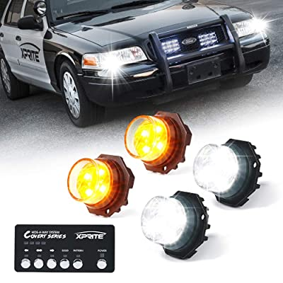 Xprite White Amber Yellow LED Hideaway Strobe Lights Kit 20 Flash Patterns Hazard Warning Light for Trucks, Police Cars, Emergency Vehicles - 4 PCs: Automotive