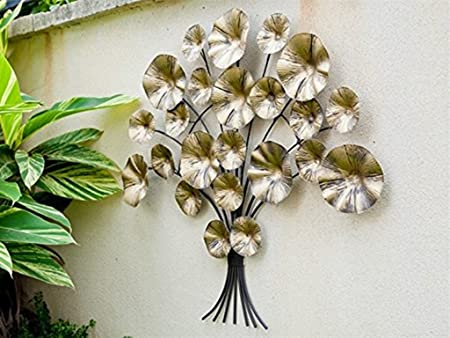 Dipamkar Metal Wall Art Garden Wall Art Gold Flower Metal Sculpture
