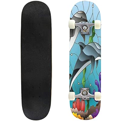 Classic Concave Skateboard Illustration in Stained Glass Style with a Pair of Dolphins on The Longboard Maple Deck Extreme Sports and Outdoors Double Kick Trick for Beginners and Professionals : Sports & Outdoors [5Bkhe0201990]