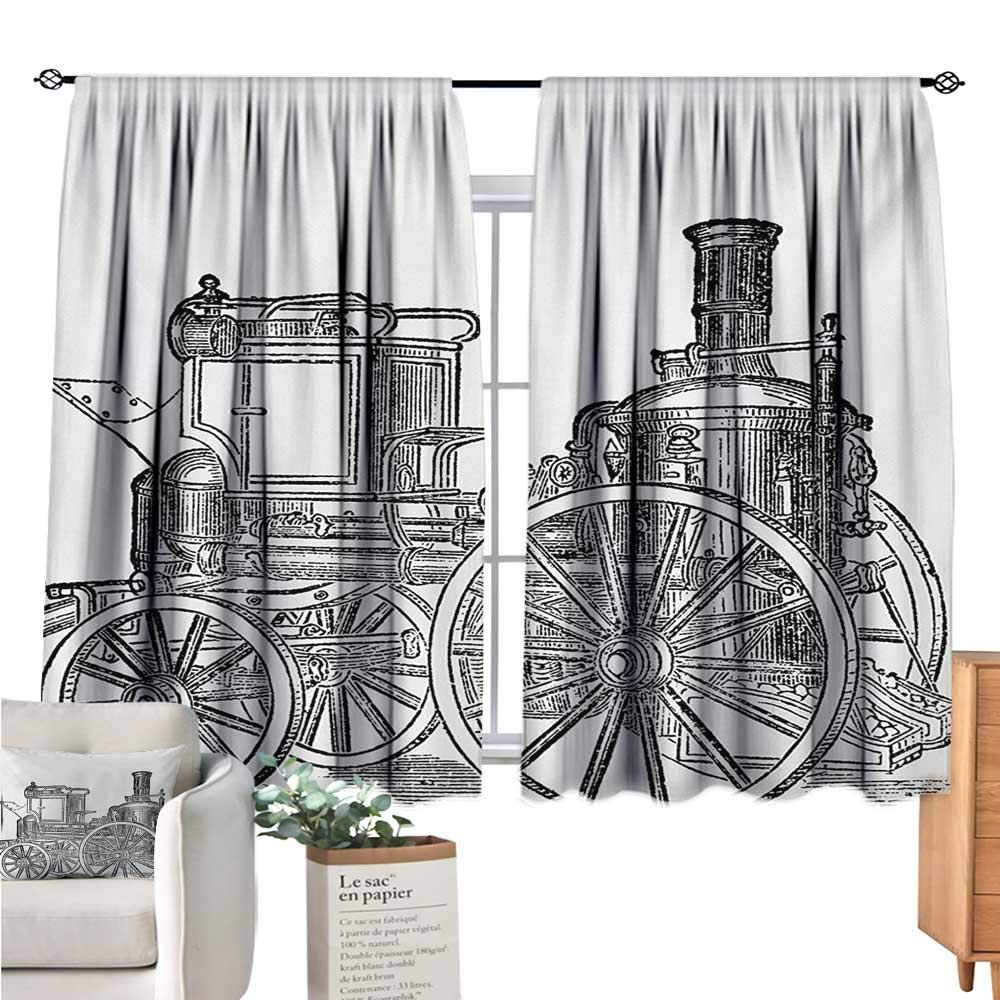 Warm Family Steam Engine Kitchen Curtain Old Fireman Truck Drawing Effect Picture British Antique Transport Charcoal Grey White Curtain Valance W55 x L39