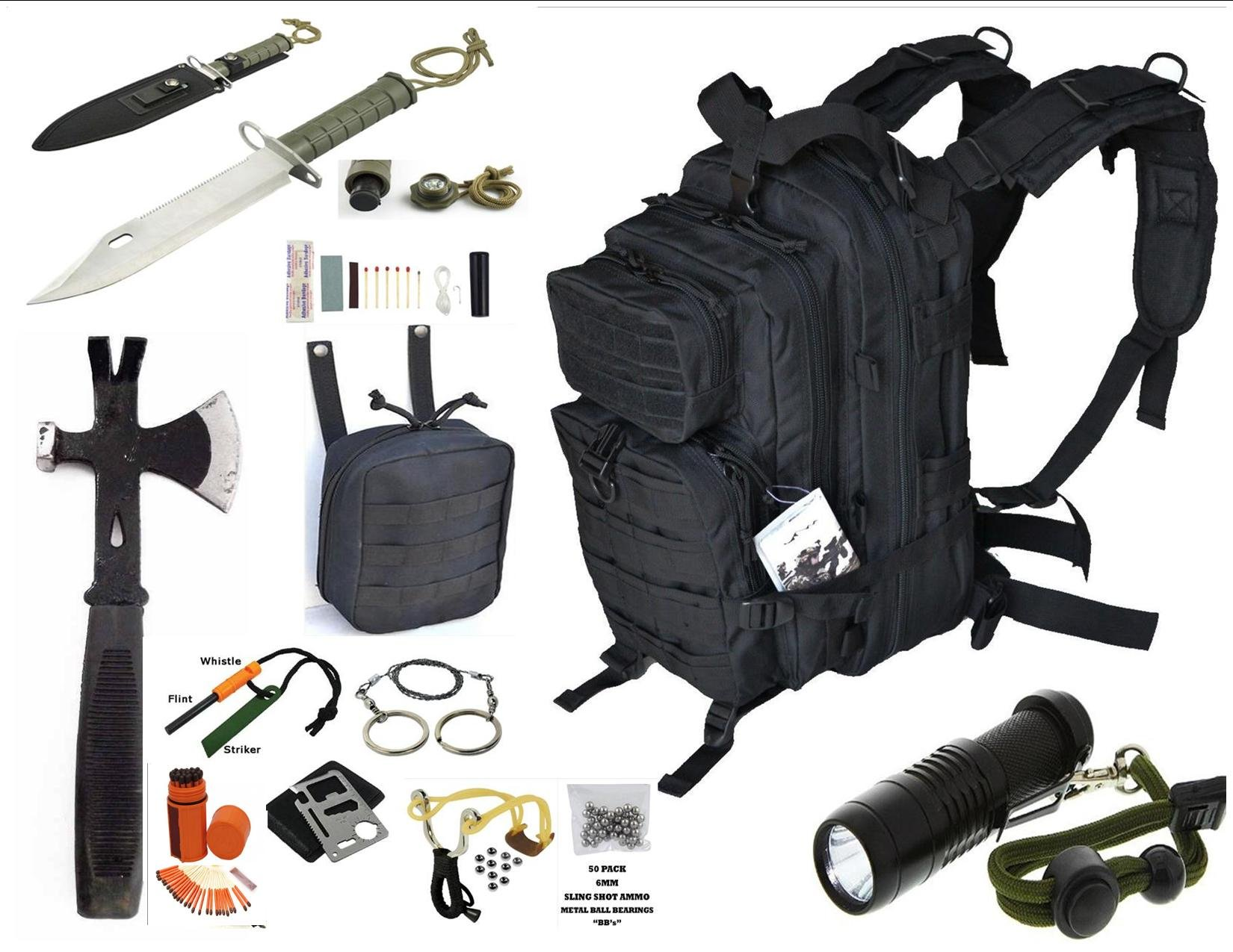 VAS BLACK OPS SURVIVAL GEAR COMBO, 17ö BUG OUT BACKPACK & MOLLE IPAK & SURVIVAL HATCHET, 15N1 SURVIVAL KNIFE, SLING SHOT & SURVIVAL ESSENTIALS #248