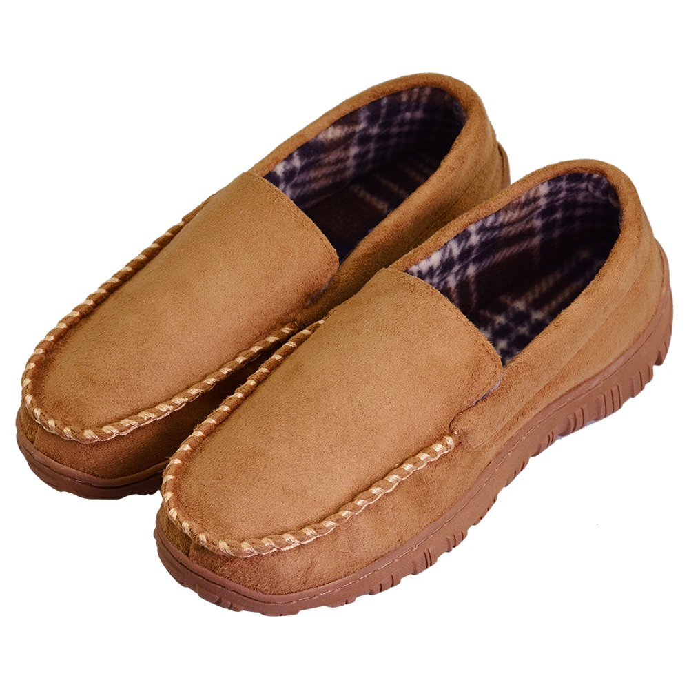 VLLY Men's Warm Pile Lined Microsuede Indoor Outdoor Bedroom Moccasin Slippers US 10 Beige (FBA) by VLLY