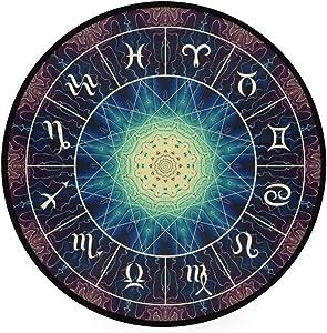 YOLIKA Home Decor Light Round Area Rug,Magic Circle Zodiacs Sign On Abstract,Super Soft Circle Carpet (5'Diameter)