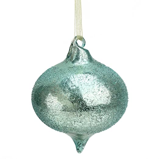 Christmas Tablescape Decor - Silent Luxury Turquoise Blue Iced Beaded Mercury Glass Onion Christmas Ornament