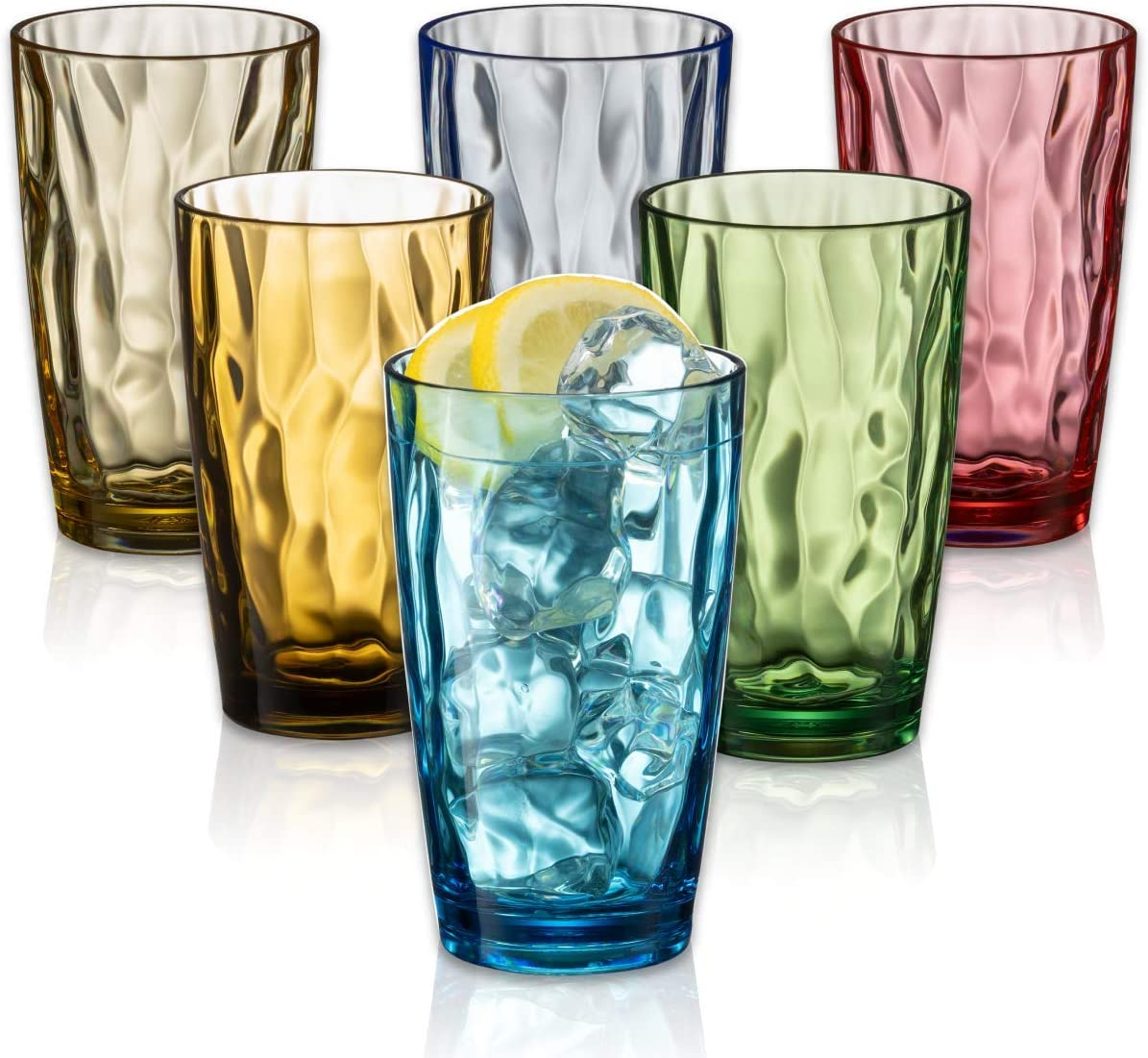 UNBREAKABLE Drinking Glasses SET OF 6 [Highball Glasses 15 Ounces] Shatterproof Plastic Tumblers, Colorful Drinking Plastic Cups, Acrylic/Tritan Plastic Glasses, BPA Free Dishwasher Safe