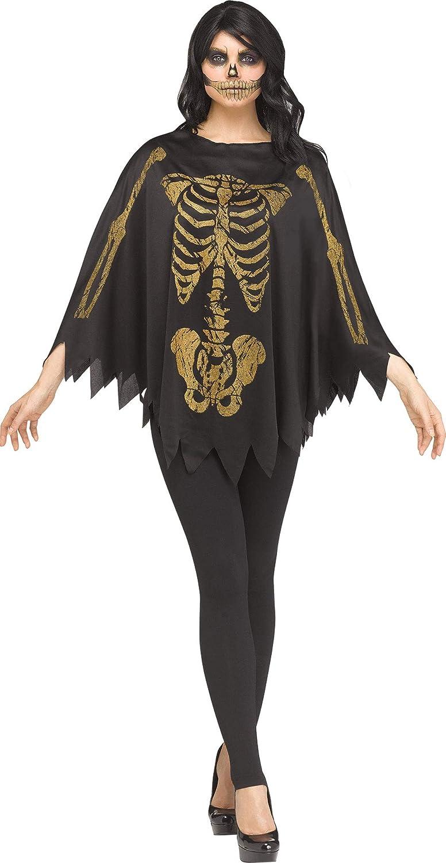 Fun World Womens Gold Glitter Skeleton Poncho Costume