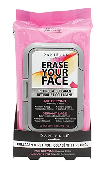 Amazon.com: Danielle Creations Erase Your Face 60-Count Makeup Remover Wipes, Retinol/Collagen: Beauty