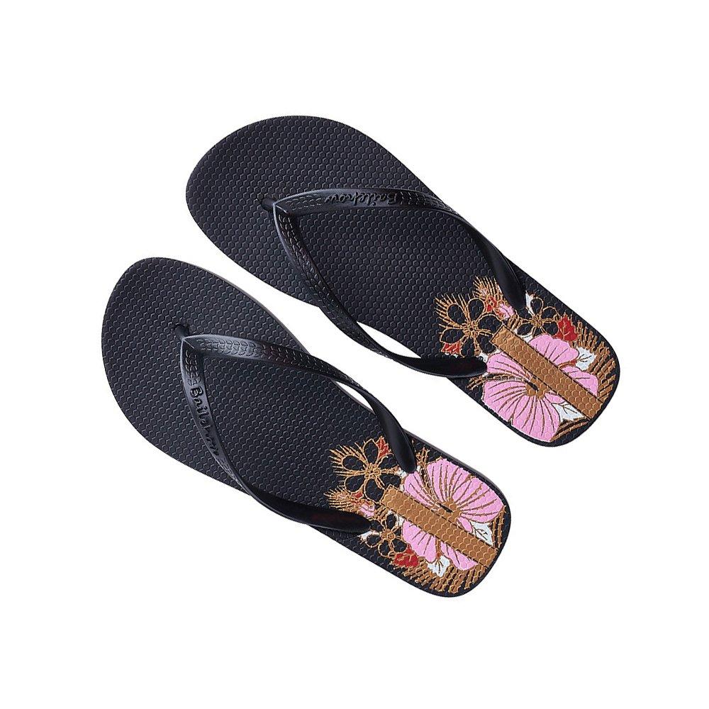 DULEE Damen Sommer Strand und Casual Flip Flops Thongs Sandalen Slipper  37 EU|Schwarz