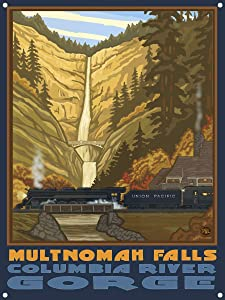 "Multnomah Falls with Train Columbia Gorge Oregon Metal Art Print from Original Travel Artwork by Artist Paul A. Lanquist 9"" x 12"""