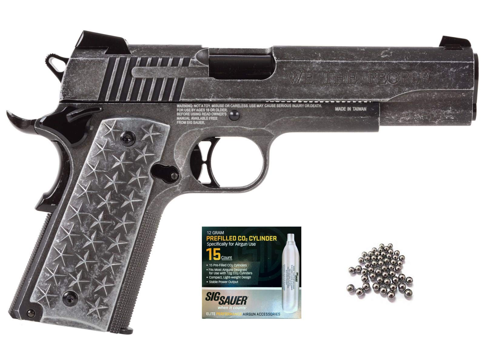 SIG Sauer 1911 BB Gun Air Pistol with CO2 12 Gram (15 Pack) Bundle (We The People) by SIG