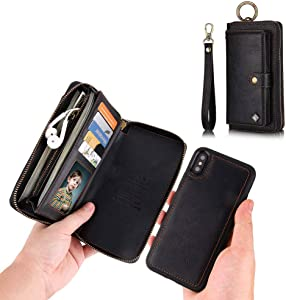 JAZ iPhone XS Wallet Case, iPhone X Wallet Case Zipper Purse Detachable Magnetic 13 Card Slots Money Pocket Clutch Leather Wallet Case Cover for iPhone X(2017) /iPhone XS(2018) 5.8 Inch - Black