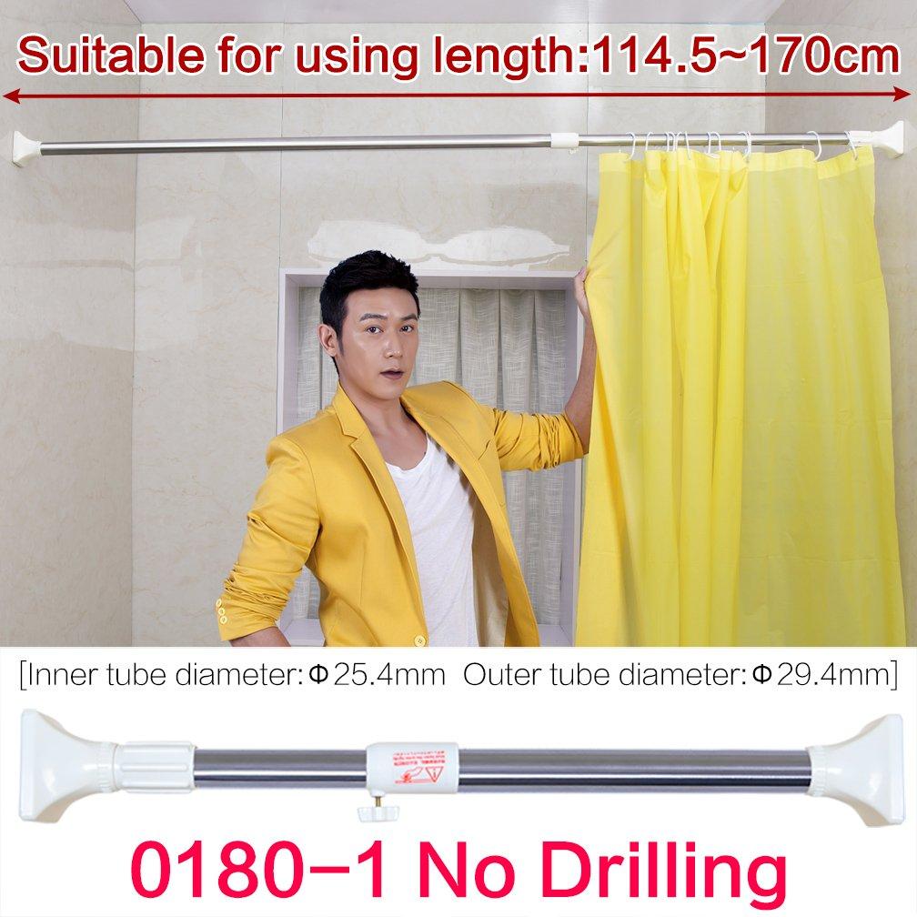 29.4/mm diametro Hershii tensione regolabile per tenda doccia dritto rail Hanger Heavy Duty Square Head indumento stendino 114.5-170cm Ivory