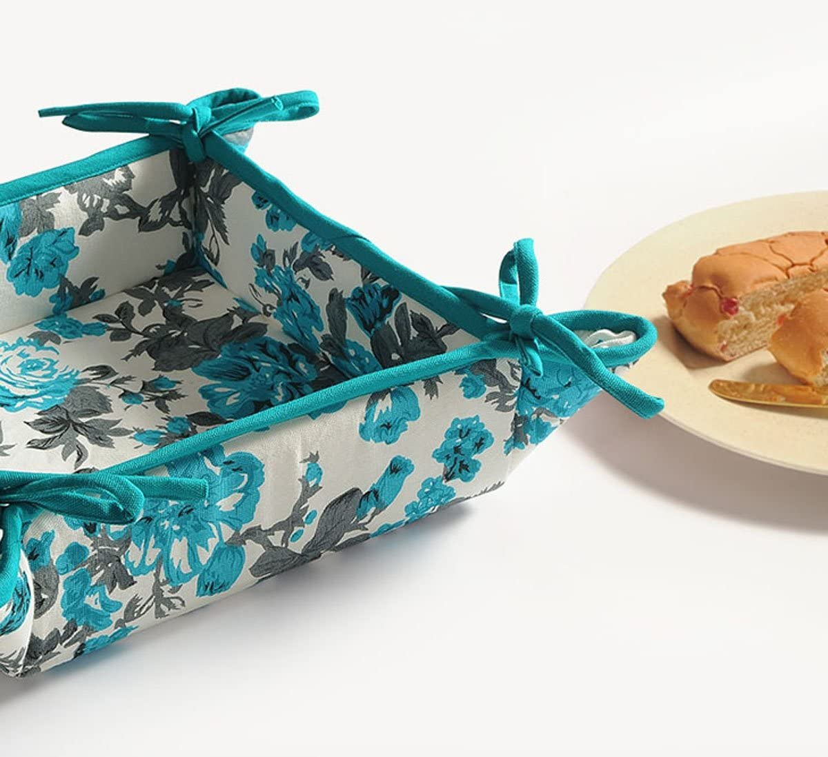 YUGA Floral Printed Teal Blue Kitchen Accessories Square 100/% Cotton Bread Basket
