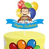 Glitter Monkey and Balloons Happy Birthday Cake Topper, Curious George Birthday Cake Decor, Circus Themed Birthday Party Supp