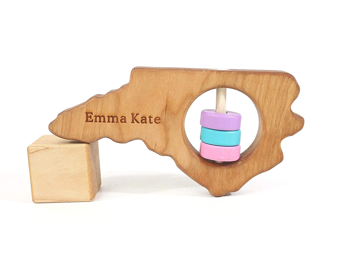 North Carolina State Wooden Baby Rattle ™