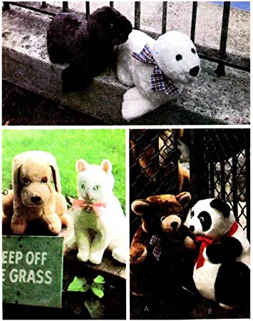 Partly Cut Soft Toys Teddy Bear Panda Bear Seals Dog Cat Sewing Pattern 1970s McCalls 6814 Stuffed Animal Collection