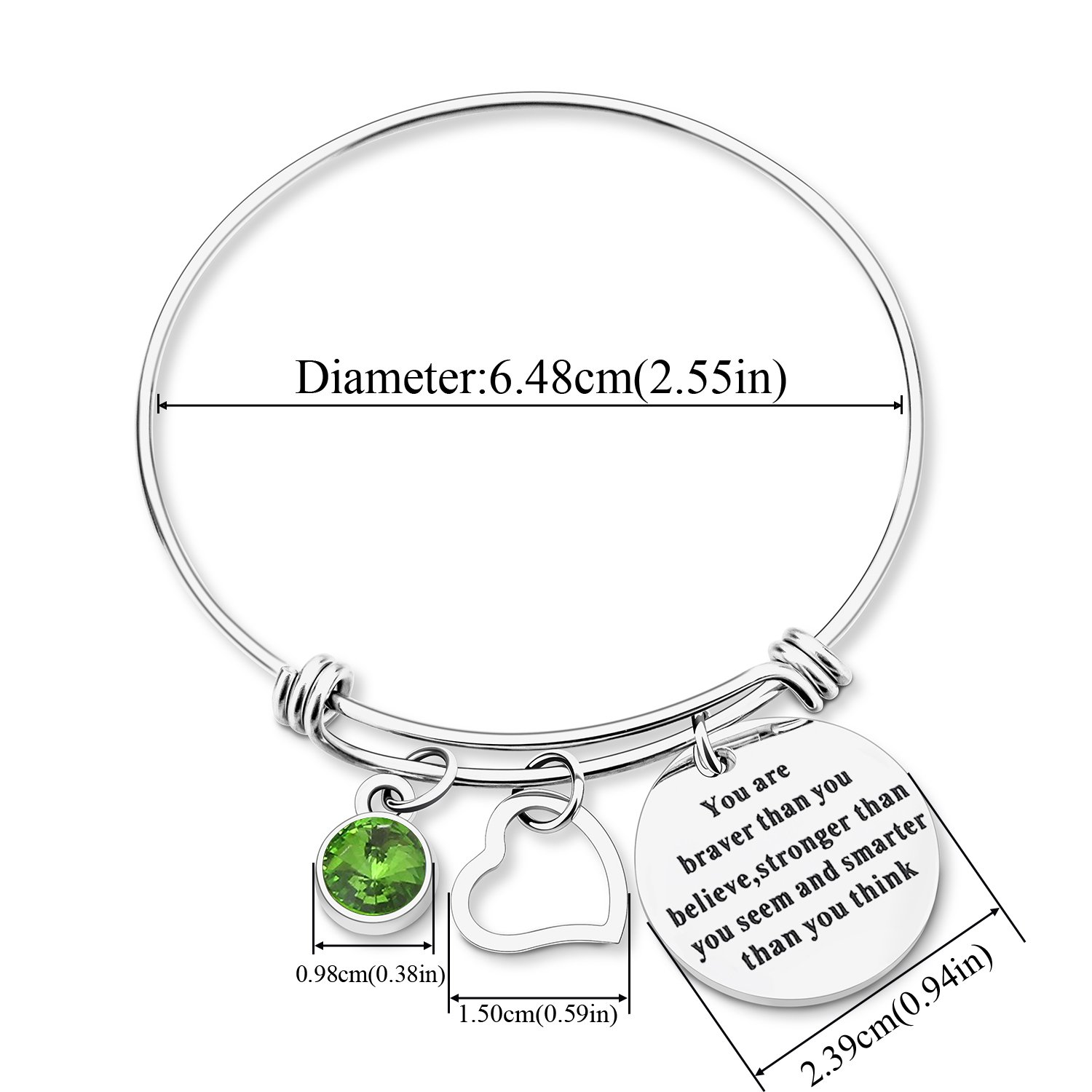 Yoomarket ''You are braver than you believe Inspirational Birthstone and Heart Adjustable Charm Bangle Bracelet Stainless Steel Womens Jewelry Birthday Girls Gifts(08-Aug.-Peridot) by Yoomarket (Image #4)