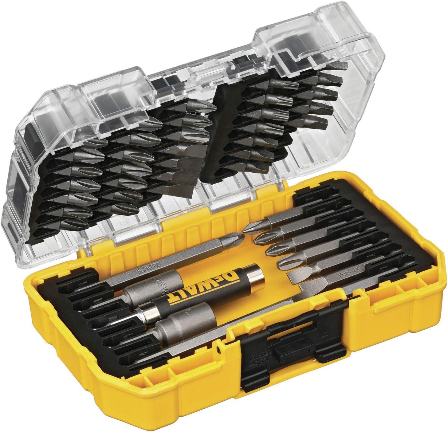 DEWALT Titanium Drill Bit Set 45-Piece DW1361 21-Piece Pilot Point DW2166 /& Screwdriver Bit Set with Tough Case
