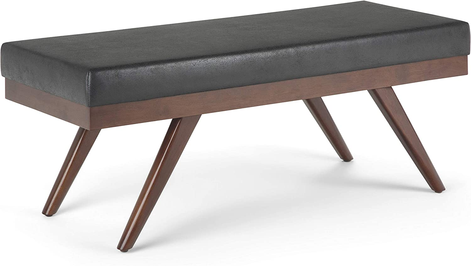 SIMPLIHOME Chanelle 48 inch Wide Rectangle Ottoman Bench Distressed Black Footrest Stool, Faux Leather for Living Room, Bedroom, Mid Century