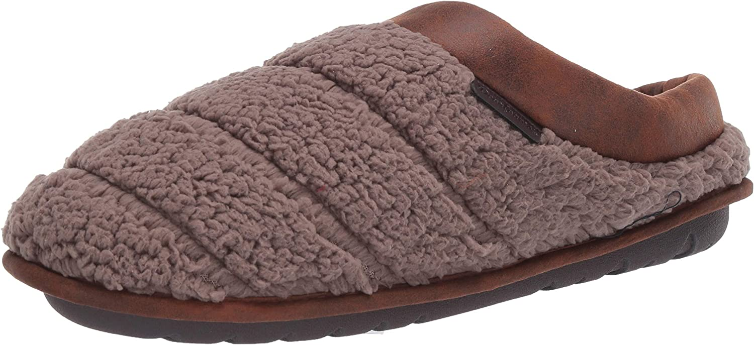 Dearfoams Men's Asher Quilted Clog Trim Slippe New product!! Faux Leather Max 54% OFF with