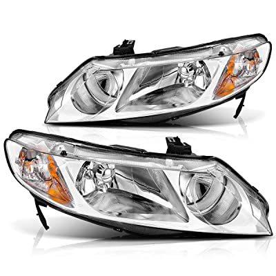 AUTOSAVER88 Headlight Assembly Compatible with 2006-2011 Honda Civic Sedan 4-Door Headlight Assembly, Headlamp Replacement with Chrome Housing and Amber Reflector: Automotive
