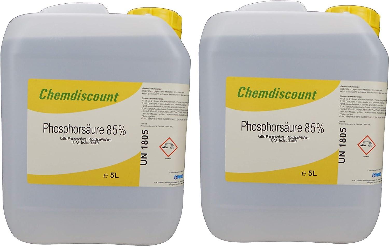 Chemdiscount 10liter 2x5liter Ca 16kg Phosphorsäure H3po4 85 Garten