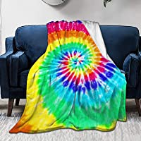 KING DARE Colorful Tie Dye Sofa Blanket, Lightweight Travel Blanket, Cozy Plush Keep Warm Throws Blankets for Baby/Kids/Youth 40x50 inch
