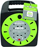PIFCO 4 Way 25M Heavy Duty Extension Reel With Re-Settable Safety Cutout-13A 230-240V AC-PIF2071/Green Colour