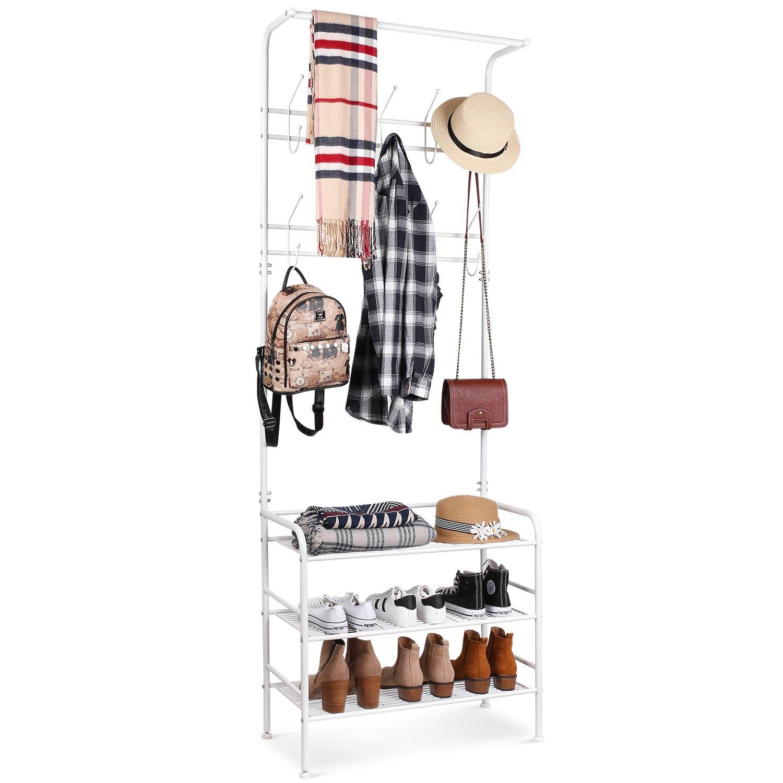 Homfa Garde-Robe Portant /à Vetement avec 3 Etag/ère pour Chaussures en Fer Penderie /à V/êtement Porte-Manteau Blanc