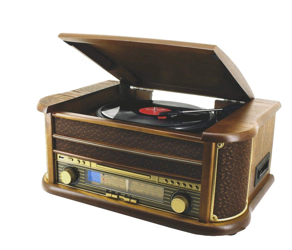 Inter Home - Cadena de música vintage con tocadiscos, lector de CD ...
