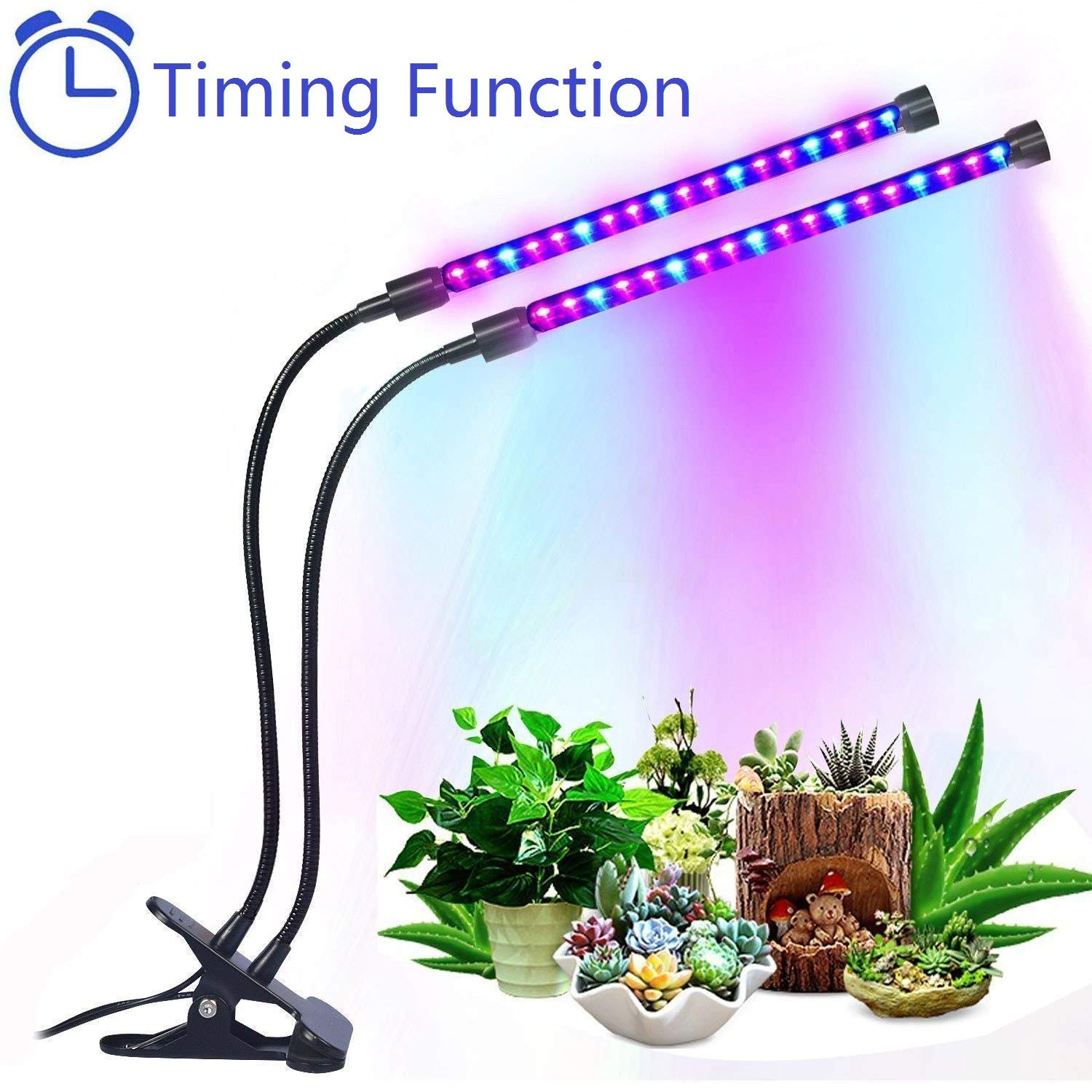 Sobotoo Dual Head Grow Lamp 36 LED with Red/Blue 5 Dimmable Levels Grow Light with Adjustable Gooseneck, 3 Modes Timing Function (3H/6H/12H) Plant Lights for Indoor Plants Garden Tent (Grow Lamp)