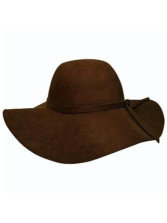c1f194de73a0b Luxury Divas Brown Wool Style Floppy Hat at Amazon Women's Clothing ...